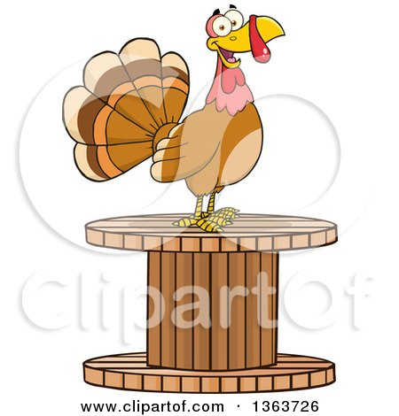 Clipart of a Cartoon Turkey Bird on a Giant Wooden Spool - Royalty Free Vector Illustration by Hit Toon