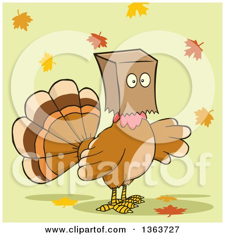 Clipart of a Cartoon Thanksgiving Turkey Bird Wearing a Bag over His Head, with Autumn Leaves on Green - Royalty Free Vector Illustration by Hit Toon