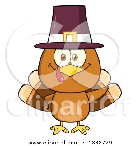 Clipart of a Cartoon Cute Thanksgiving Turkey Bird Wearing a Pilgrim Hat and Waving - Royalty Free Vector Illustration by Hit Toon