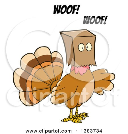 Clipart of a Cartoon Thanksgiving Turkey Bird Barking and Wearing a Bag over His Head - Royalty Free Vector Illustration by Hit Toon