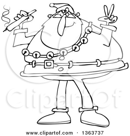 Clipart of a Black and White Santa Claus Wearing His Christmas Suit, Holding a Joint and Gesturing Peace - Royalty Free Vector Illustration by djart