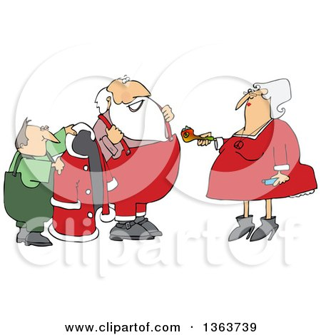 Clipart of Mrs Claus Handing Santa a Pipe While an Elf Helps Him Put on His Christmas Suit - Royalty Free Vector Illustration by djart