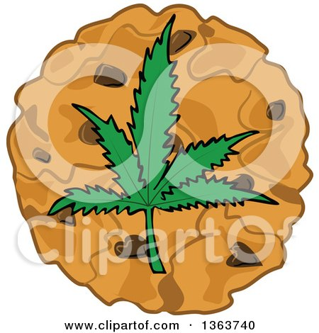 Clipart of a Cartoon Pot Cookie with a Marijuana Leaf - Royalty Free Vector Illustration by djart