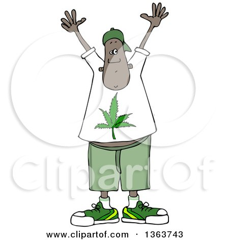 Clipart of a Cartoon Black Man Wearing a Pot Leaf Shirt and Holding His Hands up - Royalty Free Vector Illustration by djart