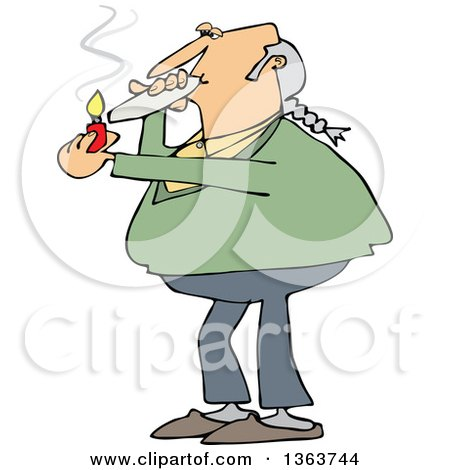 Clipart of a Cartoon Chubby White Male Hippie Man Smoking a Joint - Royalty Free Vector Illustration by djart