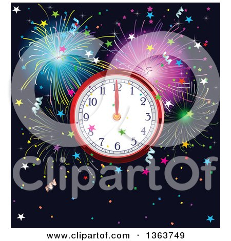Clipart of a New Year Wall Clock Striking Midnight over Fireworks and Stars - Royalty Free Vector Illustration by Pushkin