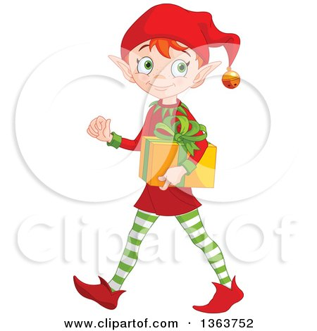 Clipart of a Happy Male Red Haired Christmas Elf Walking and Carrying a Gift - Royalty Free Vector Illustration by Pushkin