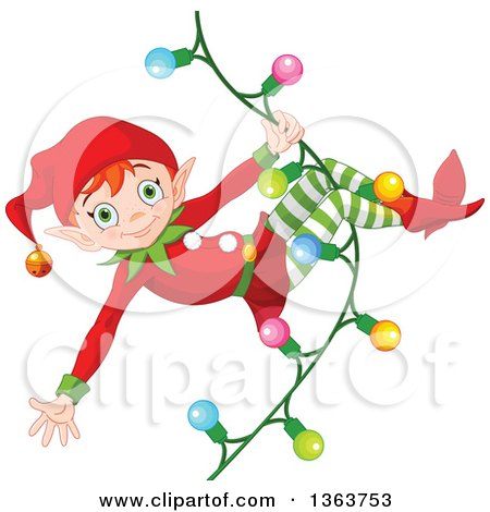 Clipart of a Happy Male Red Haired Christmas Elf Swinging on a Strand of Lights - Royalty Free Vector Illustration by Pushkin