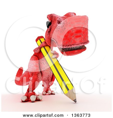Clipart of a 3d Red Tyrannosaurus Rex Dinosaur Writing with a Giant Pencil, on a White Background - Royalty Free Illustration by KJ Pargeter