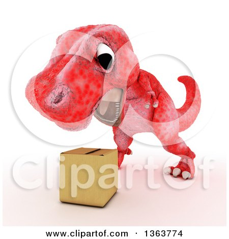Clipart of a 3d Red Tyrannosaurus Rex Dinosaur Roaring at a Box, on a White Background - Royalty Free Illustration by KJ Pargeter