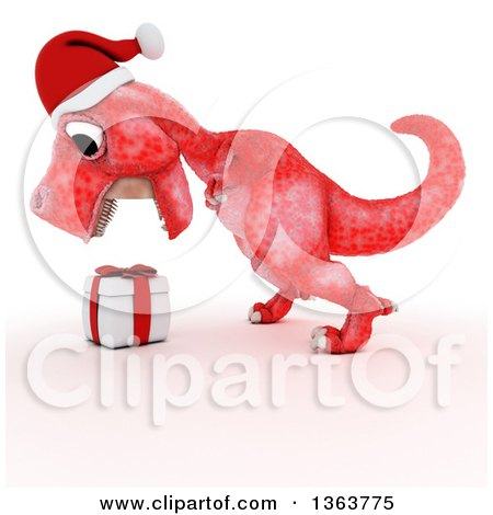 Clipart of a 3d Red Tyrannosaurus Rex Dinosaur Roaring at a Gift, on a White Background - Royalty Free Illustration by KJ Pargeter