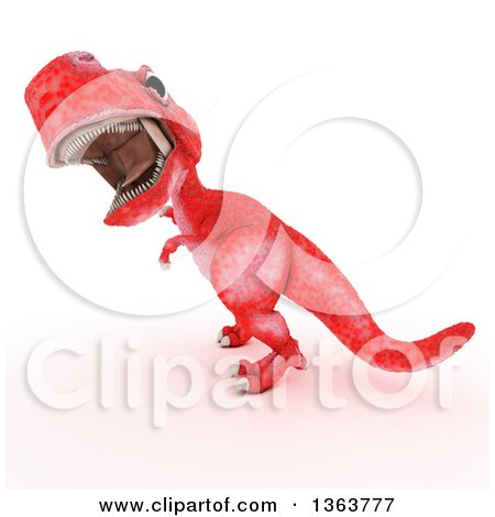Clipart of a 3d Red Tyrannosaurus Rex Dinosaur Roaring, on a White Background - Royalty Free Illustration by KJ Pargeter