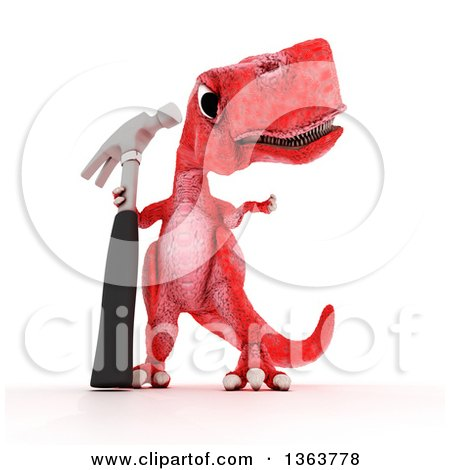 Clipart of a 3d Red Tyrannosaurus Rex Dinosaur Holding a Hammer, on a White Background - Royalty Free Illustration by KJ Pargeter