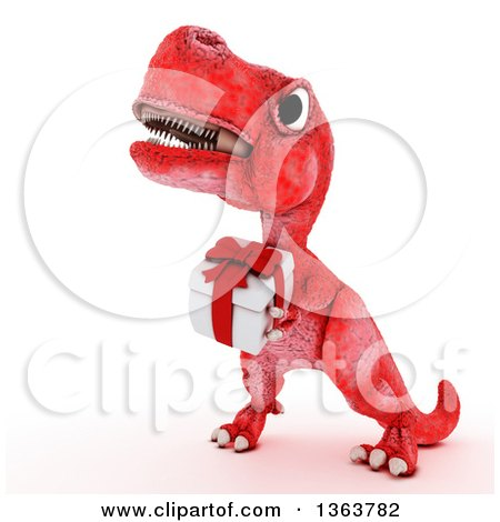 Clipart of a 3d Red Tyrannosaurus Rex Dinosaur Carrying a Gift, on a White Background - Royalty Free Illustration by KJ Pargeter