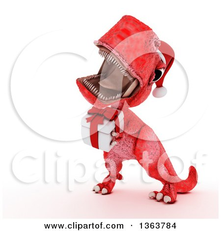 Clipart of a 3d Red Tyrannosaurus Rex Dinosaur Roaring and Holding a Gift, on a White Background - Royalty Free Illustration by KJ Pargeter