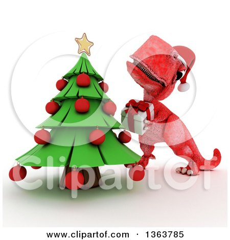 Clipart of a 3d Red Tyrannosaurus Rex Dinosaur Putting a Gift Under a Christmas Tree, on a White Background - Royalty Free Illustration by KJ Pargeter