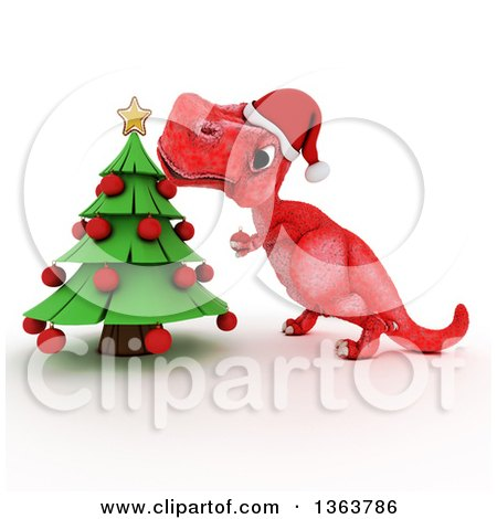 Clipart of a 3d Red Tyrannosaurus Rex Dinosaur Trimming a Christmas Tree, on a White Background - Royalty Free Illustration by KJ Pargeter