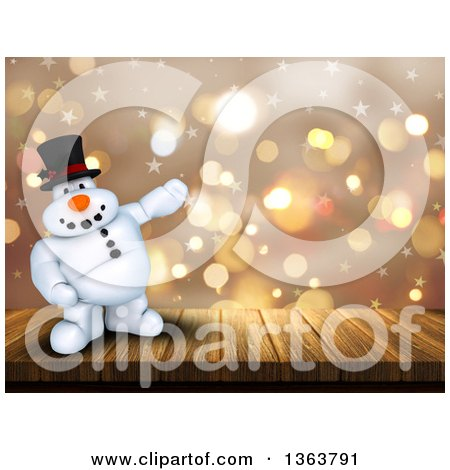 Clipart of a 3d Snowman Standing on a Deck and Presenting over Flares and Stars - Royalty Free Illustration by KJ Pargeter