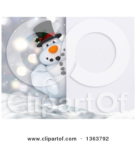 Clipart of a 3d Snowman Looking Around a Sign in the Snow - Royalty Free Illustration by KJ Pargeter