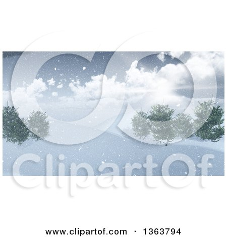 Clipart of a 3d Winter Landscape of the Sun Shining over a Hill with Snow and Trees - Royalty Free Illustration by KJ Pargeter