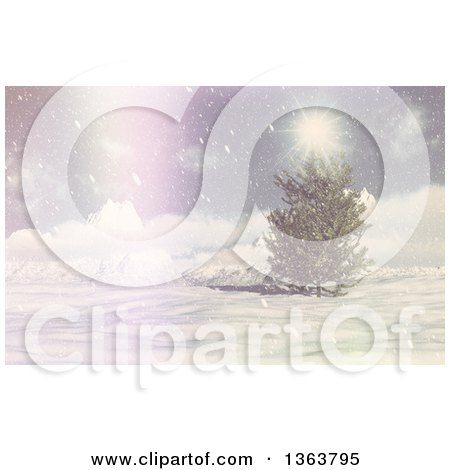 Clipart of a 3d Winter Landscape of an Evergreen Tree, Snow and Sunshine with a Vintage Flare - Royalty Free Illustration by KJ Pargeter