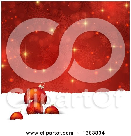 Clipart of a Christmas Background of 3d Baubles in Snow over Red Snowflakes and Flares - Royalty Free Vector Illustration by KJ Pargeter