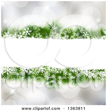 Clipart of a Frame of Snowflakes and Christmas Tree Branches over Bokeh Flares - Royalty Free Vector Illustration by KJ Pargeter