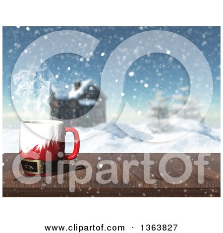 Clipart of a 3d Hot Santa Suit Cup of Coffee on a Wood Table with a Winter Landscape and Log Cabin View - Royalty Free Illustration by KJ Pargeter