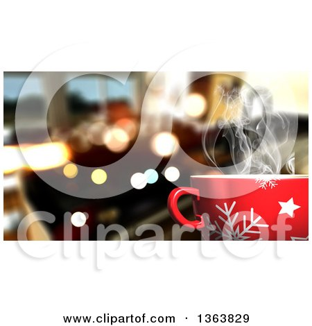 Clipart of a 3d Hot Cup of Coffee over Flares and a Blurred Interior - Royalty Free Illustration by KJ Pargeter
