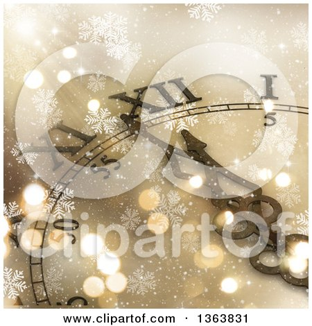 Clipart of a 3d Decorative Wall Clock Approaching Midnight over Gold with Snowflakes - Royalty Free Illustration by KJ Pargeter
