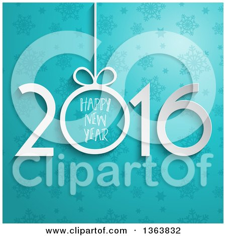 Clipart of a 3d White Suspended Happy New Year 2016 Greeting over Blue Stars and Snowflakes - Royalty Free Vector Illustration by KJ Pargeter