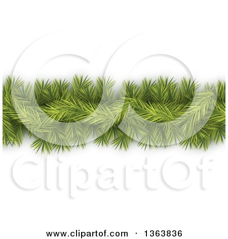 Clipart of a Green Fir Tree Christmas Garland - Royalty Free Vector Illustration by vectorace
