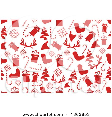Clipart of a Seamless Christmas Background of Red Holiday Items - Royalty Free Vector Illustration by vectorace
