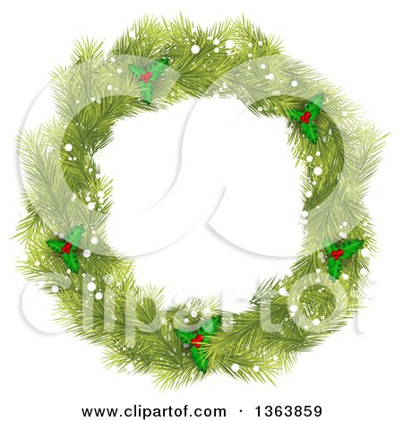 Clipart of a Christmas Wreath Made of Green Fir Tree Branches, Snow and Holly - Royalty Free Vector Illustration by vectorace