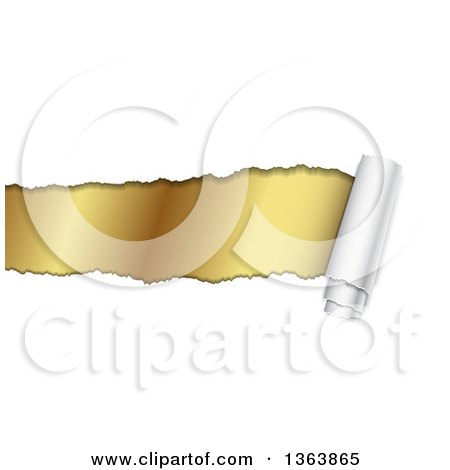 Clipart of a Background of Torn Curnling Paper Revealing Gold - Royalty Free Vector Illustration by vectorace