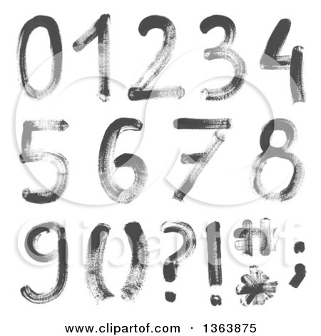 Clipart of Grayscale Watercolor Painted Numbers and Symbols - Royalty Free Vector Illustration by vectorace