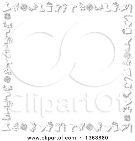 Clipart of a Christmas Background of Holiday Items with Shading Around White Text Space - Royalty Free Vector Illustration by vectorace