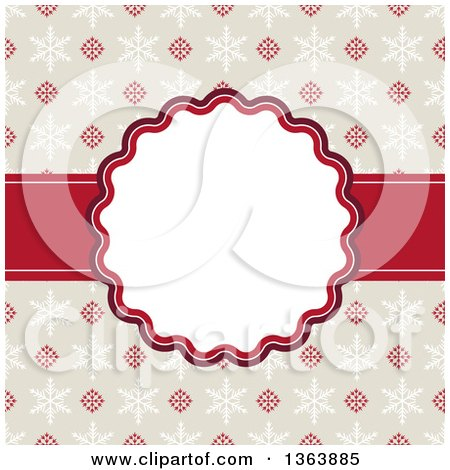 Clipart of a Christmas Frame with Retro Snowflakes and Text Space - Royalty Free Vector Illustration by vectorace