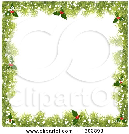 Clipart of a Christmas Background of Fir Branches, Holly and Snow Framing White Text Space - Royalty Free Vector Illustration by vectorace