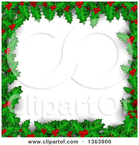 Clipart of a Christmas Background of Holly and Berries Framing White Text Space - Royalty Free Vector Illustration by vectorace
