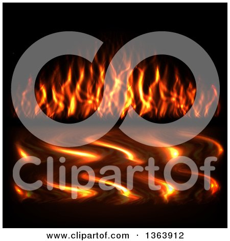 Clipart of a Background of Flames and Reflections on Water - Royalty Free Vector Illustration by vectorace