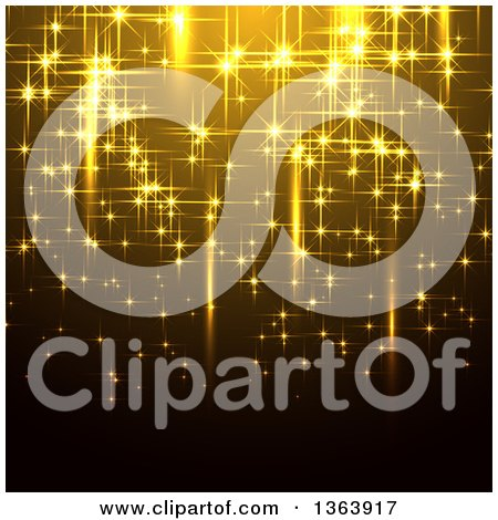 Clipart of a Background of Gold Sparkly Lights or Fireworks - Royalty Free Vector Illustration by vectorace