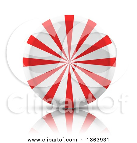 Clipart of a 3d Round Peppermint Candy - Royalty Free Vector Illustration by vectorace