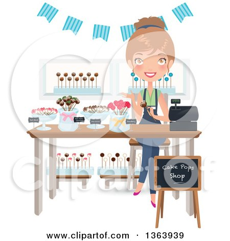 Happy Dirty Blond Caucasian Woman Selling Cake Pops Posters, Art Prints