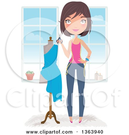 Clipart of a Happy Brunette Caucasian Female Fashion Designer Holding Scissors by a Dress on a Mannequin - Royalty Free Vector Illustration by Melisende Vector