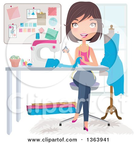 Happy Brunette Caucasian Female Fashion Designer Sewing a Dress Posters, Art Prints