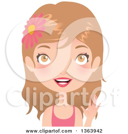 Clipart of a Dirty Blond Caucasian Woman Wearing a Flower in Her Hair and Waving - Royalty Free Vector Illustration by Melisende Vector