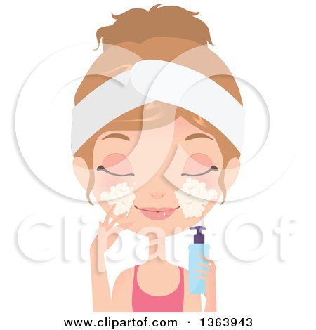 Clipart of a Dirty Blond Caucasian Woman Washing Her Face with a Foaming Cleanser - Royalty Free Vector Illustration by Melisende Vector