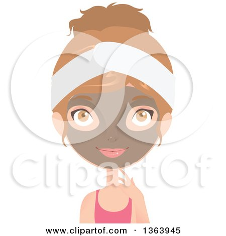 Clipart of a Dirty Blond Caucasian Woman Wearing a Facial Clay Mask - Royalty Free Vector Illustration by Melisende Vector