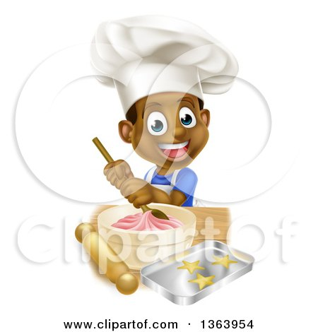 Clipart of a Cartoon Happy Black Boy Making Frosting and Star Cookies - Royalty Free Vector Illustration by AtStockIllustration